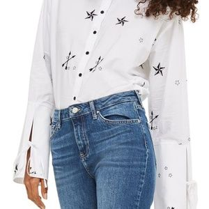 Top Shop Star Embroidered shirt size 6